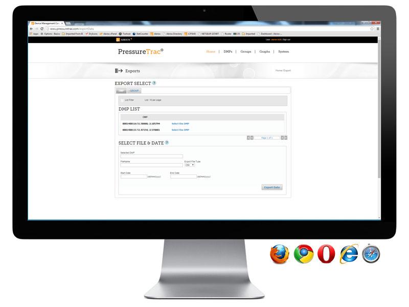 PressureTrac - Export Page