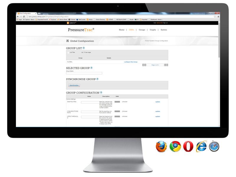 PressureTrac - Global Configuration Page